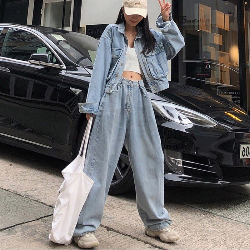 Fashion Loose Womens Jeans Harajuku-Style High-Waist Jeans Korean-Style Wide-Leg Straight Jeans Women 2