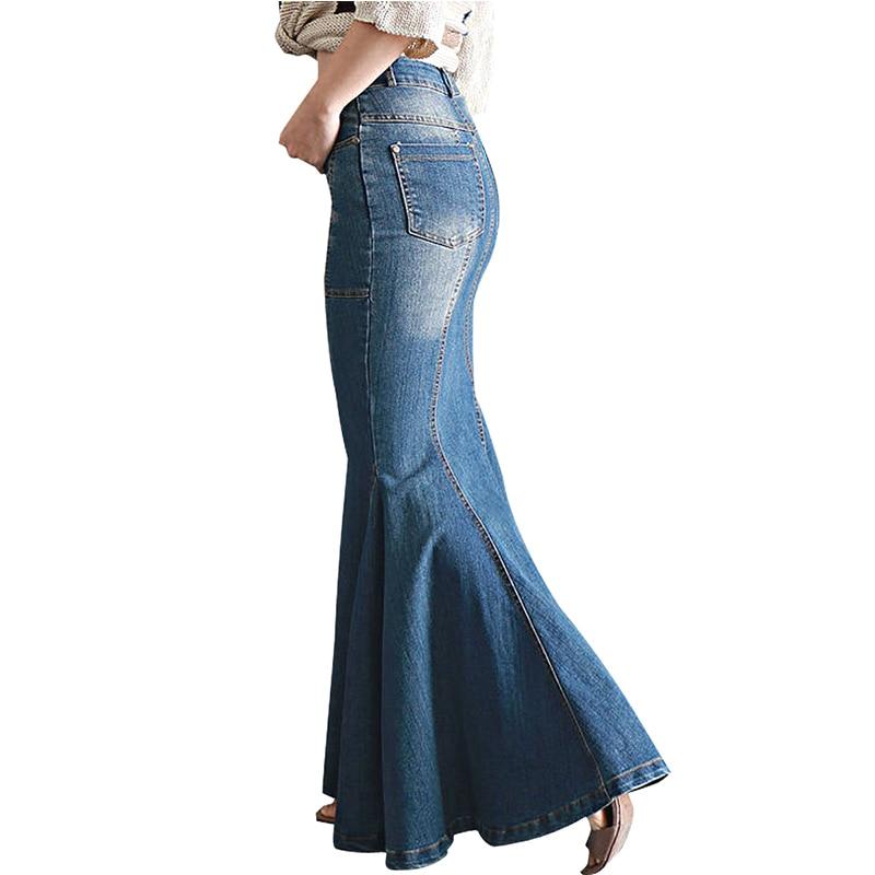 Women's Casual Stretch Waist Washed Denim Ruffle Fishtail Skirts Long Jean Skirt 3