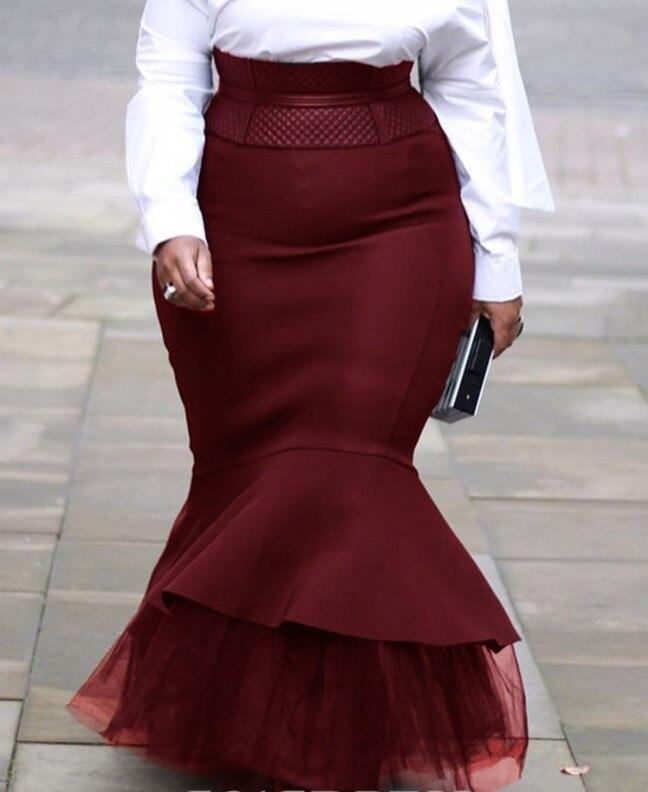 4XL 5XL Plus Size Skirts 2020 Autumn Winter Women Long Skirts Vintage Evening Party African Ladies Mesh Patchwork Mermaid C 4