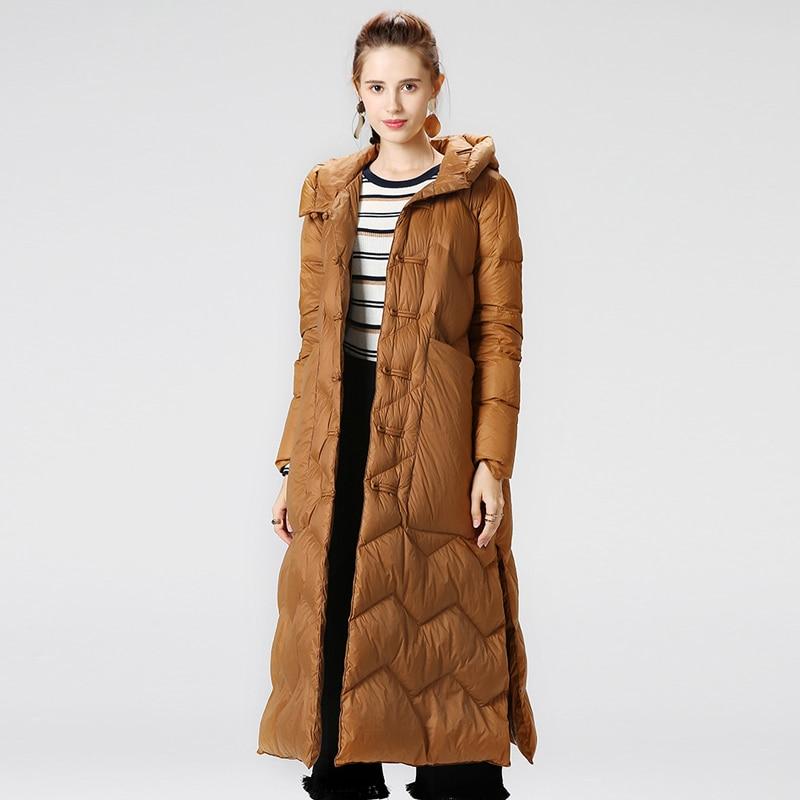 Lightweight down jacket New Winter Parka Womens Down Jacket Solid Split Long White duck Down Coat Warm Hooded Jacket Big Pockets 4