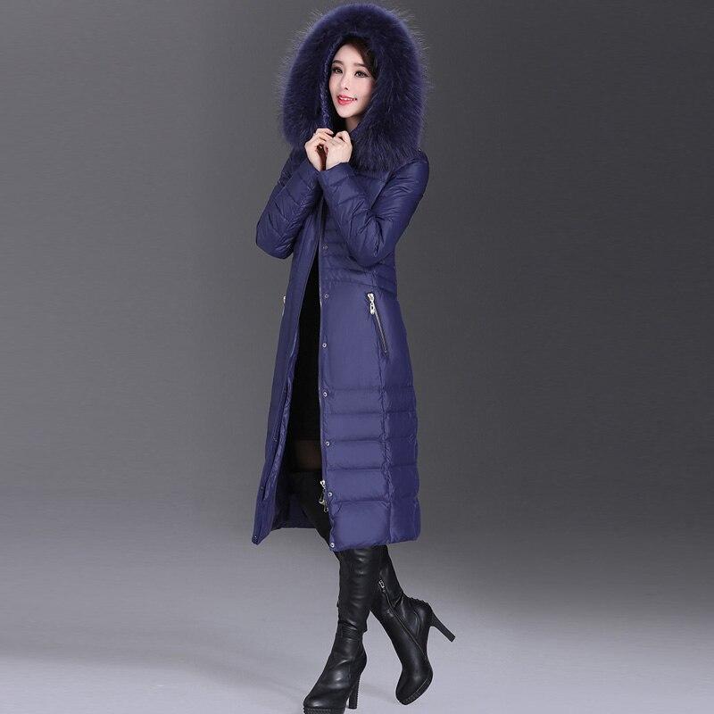 AYUNSUE 2020 Winter Duck Down Jacket Women Long Slim Coat Female Womens Down Jackets With Real Fur Collar Plus Size 5XL WYQ800 4