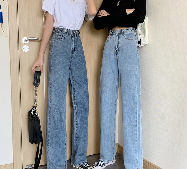 Summer new straight loose trousers thin wide leg pants pants high waist jeans women K7525-01-07