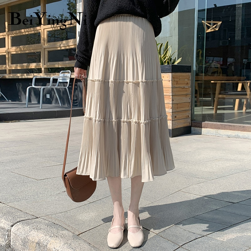 Beiyingni Vintage Casual Pleated Skirt Women Patchwork Long High Waist Midi Cake Skirt Elegant Harajuku Saias Faldas Maxi Jupe 3