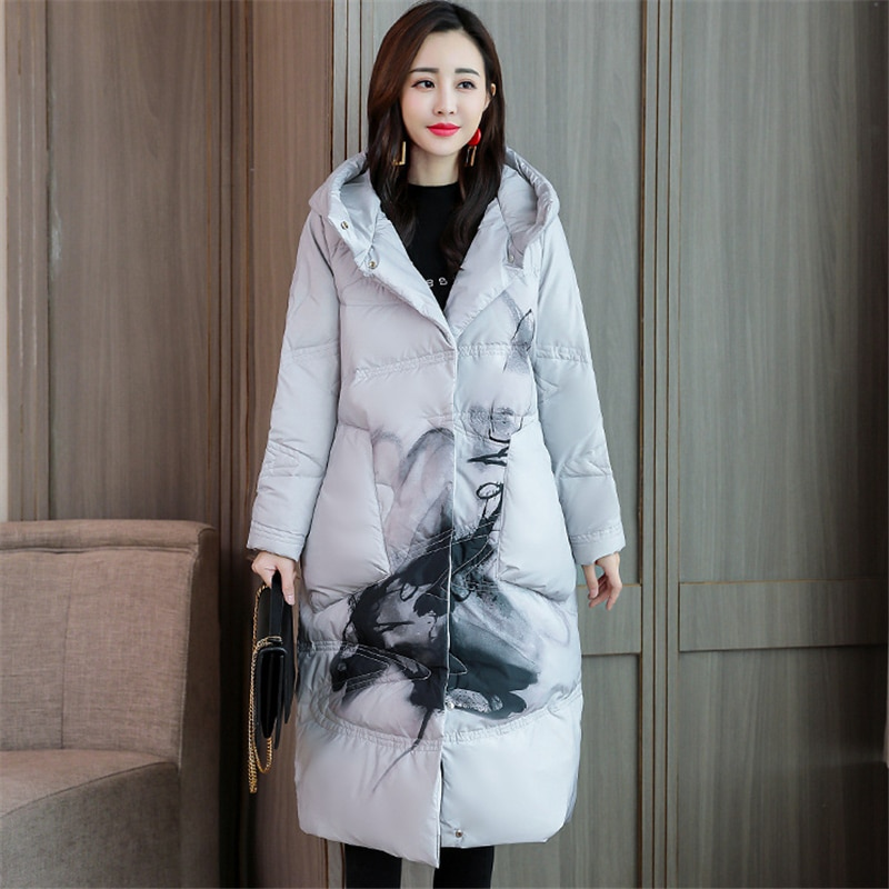 2020 New Winter Women Print Down jacket white duck down Loose Warm Chinese style down Coat Fashion Casual Hooded Parka W124 3