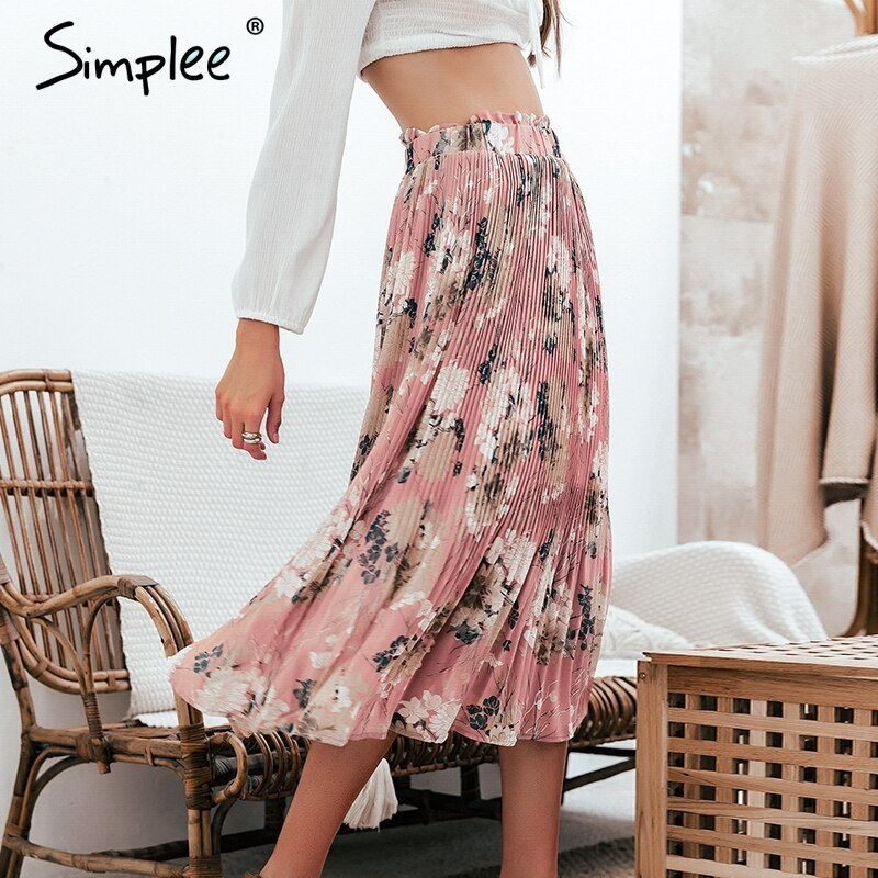 Simplee Bohemian ruffled high waist chiffon women long skirt Floral print skirt pleated summer skirt Female lining midi skirt 1