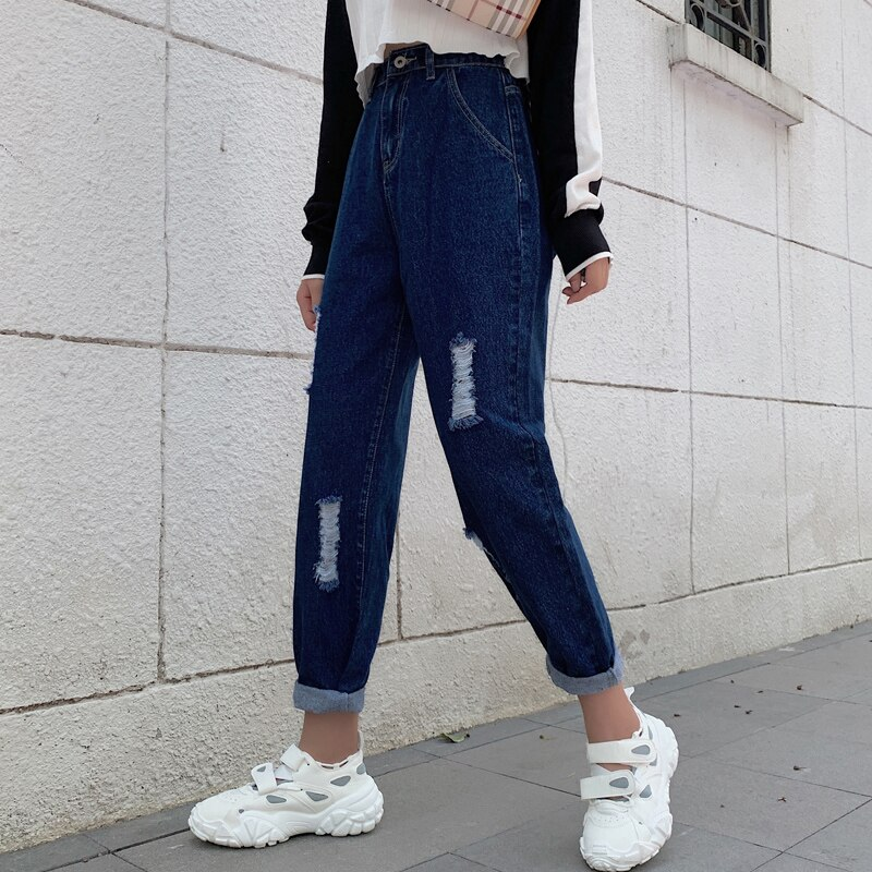 Ripped Mom Jeans High Waist Straight Jeans For Women Wide Leg Denim Pantalon Jambe Large Femme Distressed Jeans Pants 2020 New 3