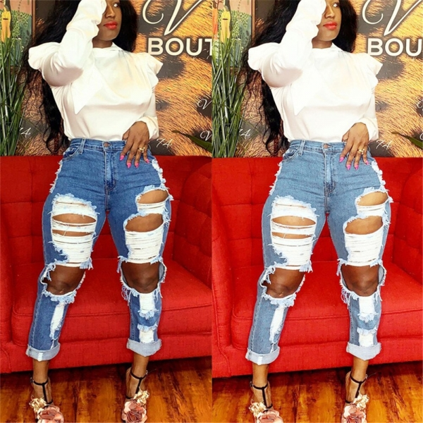 Excessive waist denims scorching sale ladies's ripped denims