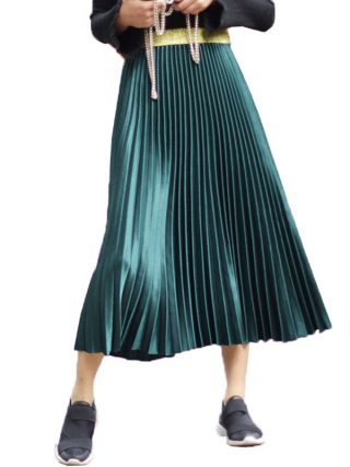 Autumn Elegant Pleated Skirt Girls Elastic Excessive Waist