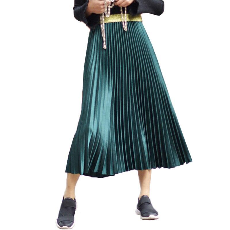 Spring Autumn Elegant Pleated Skirt Women Elastic High Waist Women Long Skirt Female Winter Ladies High Quality Midi Skirts Saia