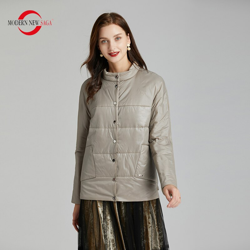 MODERN NEW SAGA 2020 Spring Women Jacket Thin Cotton Padded Jacket Autumn Women Coat Standed Collar Puffer Jacket Women Green 4