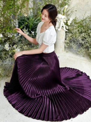 Korean Ladies Trend Pleated Satin Lengthy Skirt