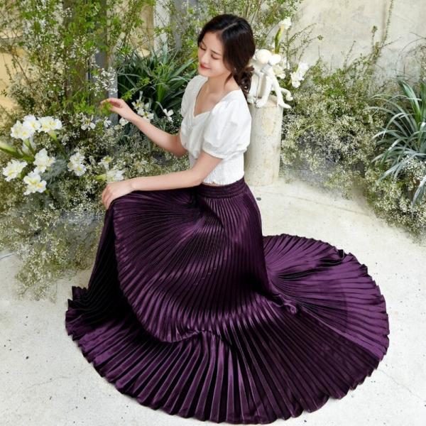 Korean Ladies Trend Pleated Satin Lengthy Skirt