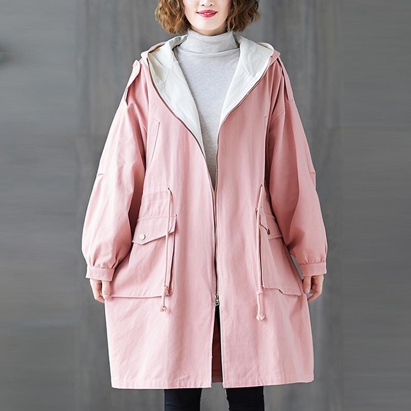 Plus Size 4XL 5XL 6XL 7XL Women Jackets Oversize Autumn Winter Thicken Cotton Hoody Outerwear Vintage Zipper Long Windbreaker 2