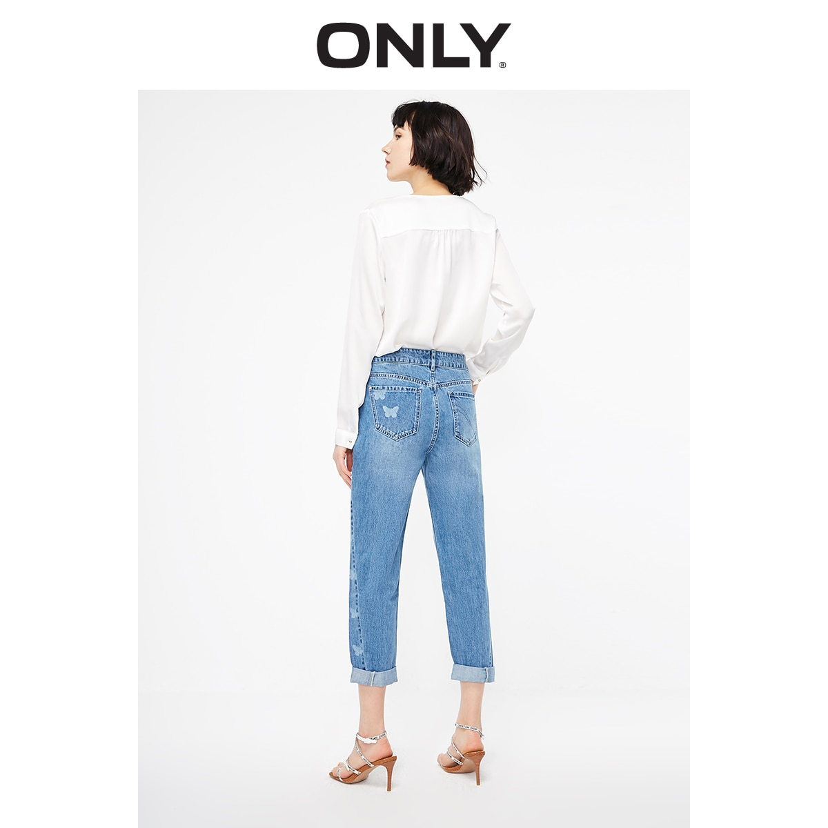 ONLY Women's Loose Straight Fit Low-rise Printed Crop Jeans   119149572 3