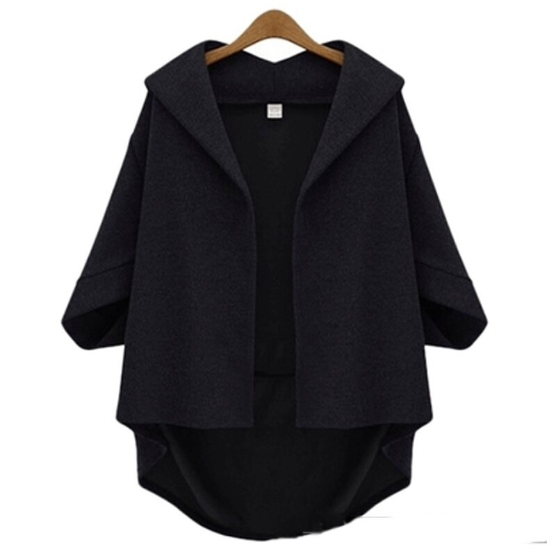 European Style Women Jackets 2019 Autumn Winter Ladies Asymmetrical Outerwear Wool&Blends Bawting Sleeve Coats Plus Size XL- 6XL 1