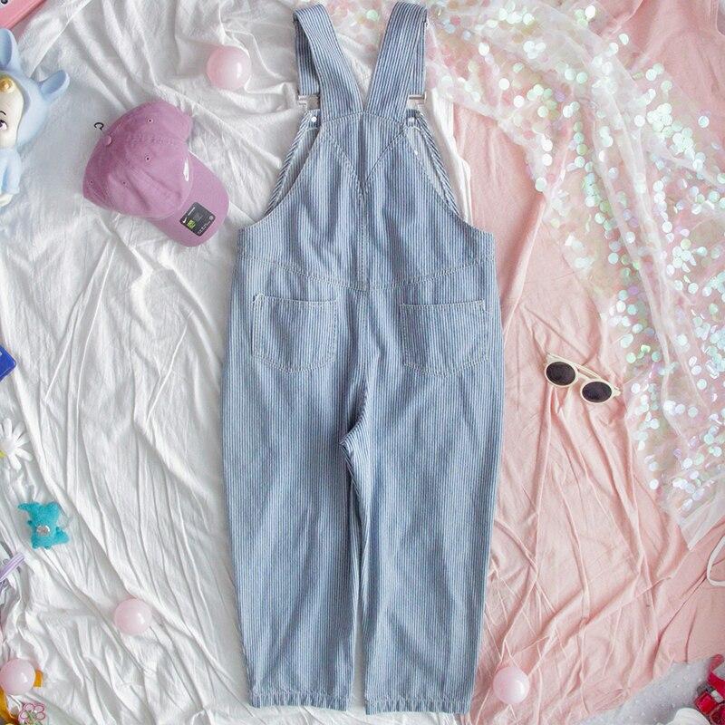 Harajuku Striped Denim Jumpsuit Women Romper Teenage Girl Kawaii Loose Jeans Strap Long Pants Korean Cute Ladies Casual Overalls 1