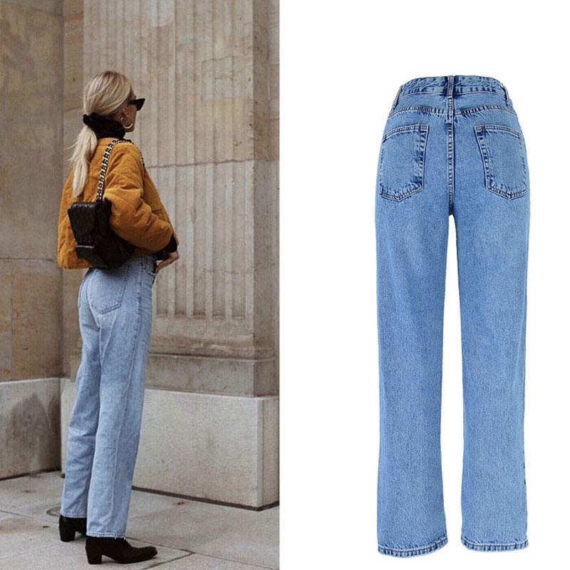 2020 High Waist Jeans Woman Casual Loose Women Denim Pants Straight Cotton Vintage Boyfriend Jeans Chic Long Trousers Streetwear 2