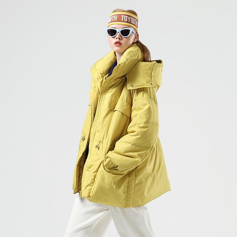 Toyouth Fashion Big Pockets Long Women Down Jacket Thicken Winter Warm Hooded Coat Casual Solid Long Sleeve Women Down Coat 2