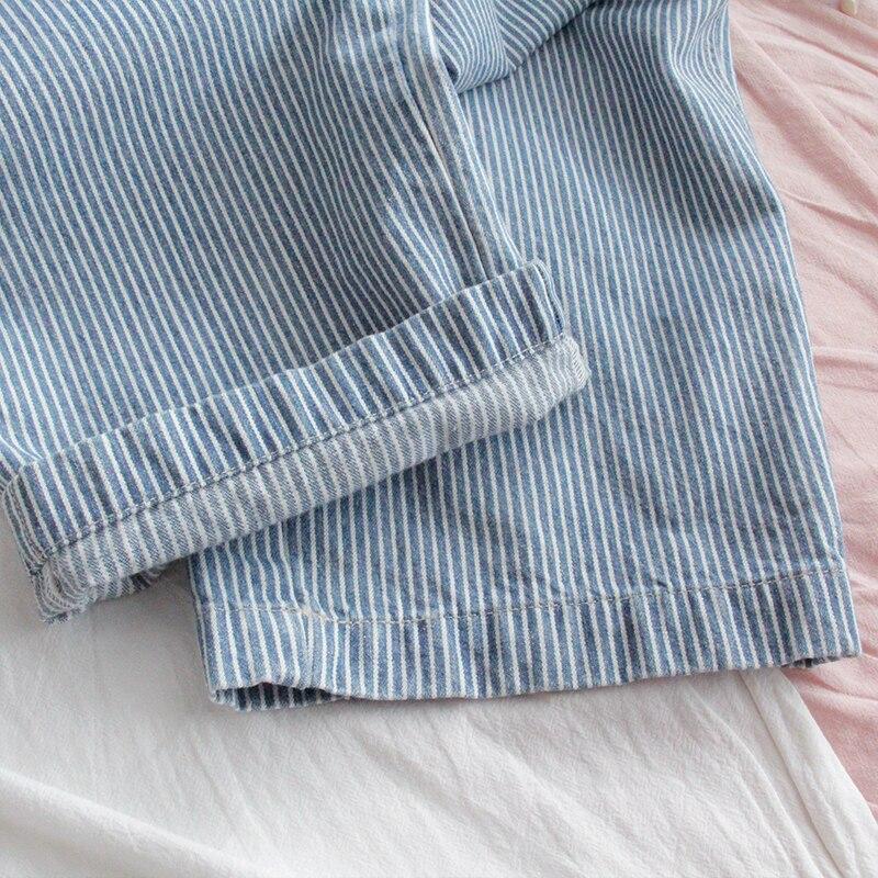 Harajuku Striped Denim Jumpsuit Women Romper Teenage Girl Kawaii Loose Jeans Strap Long Pants Korean Cute Ladies Casual Overalls 4