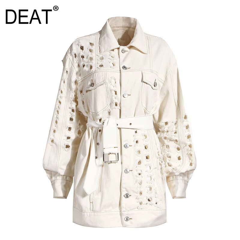 DEAT 2020 NEW autumn and winter full sleeves metal hollow out waist belt denim fashion women jacket female top 2020 1Y917