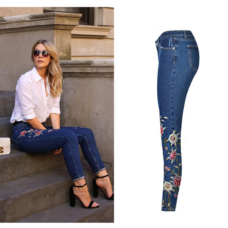 Hot Fashion Jeans Women's Clothing Straight Denim Jeans Pants 3D Floral Embroidery Pants High Waist Ladies Loose Jeans Trousers 1