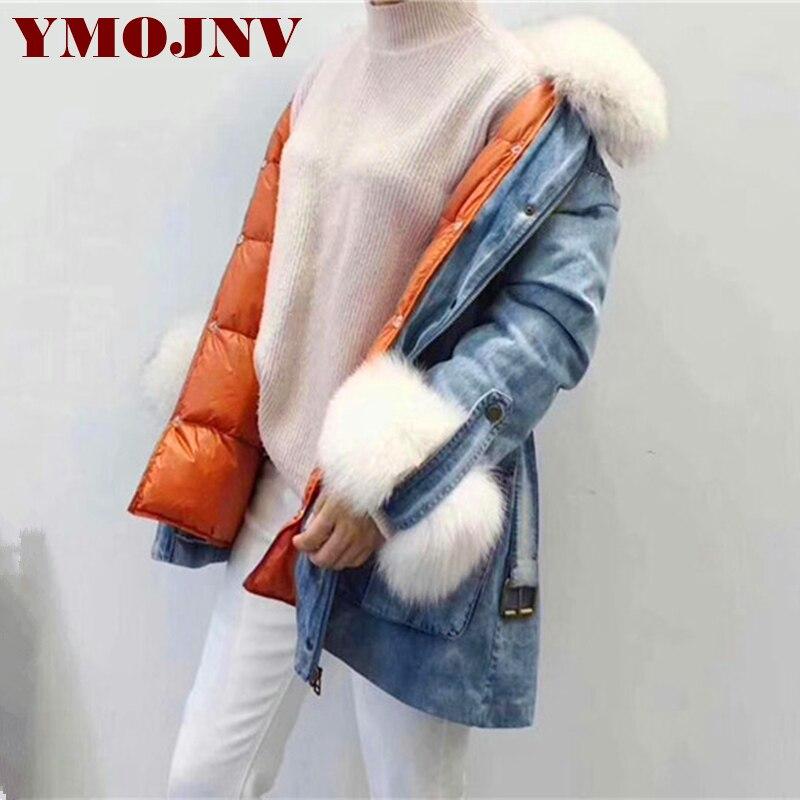 YMOJNV Winter Women Coat Denim Down Jacket Real Natural Fox Fur Collar 90% White Duck Down Liner Warm Parka Female Outerwear 3