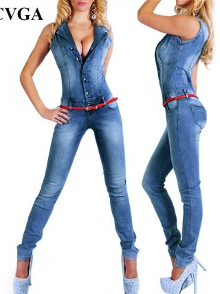 Sleeveless Jumpsuit Denims Attractive Bodysuit Ladies