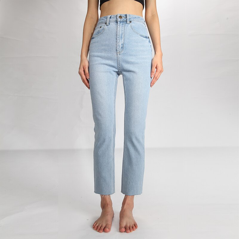 CREK Momjeans Spring and Summer Washed Light Blue Tassel Soft Material Comfortable High Waist Small Straight Jeans Women