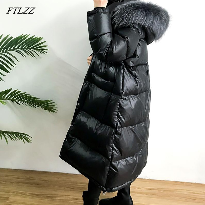 FTLZZ Large Real Natural Raccoon Fur Winter Women Down Jacket Long Thick Warm Coat White Duck Down Jacket Female Oversize 2