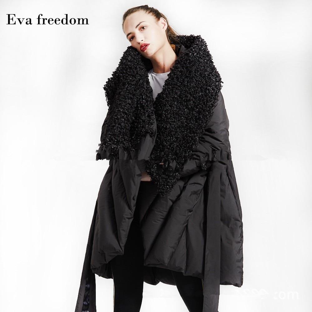 Eva Freedom Original Design down coat woman winter loose down coat Imitation beach wool cloak down jacket hooded women 4