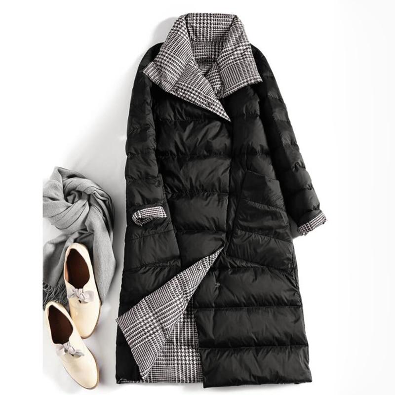 SEDUTMO Winter Long Plus Size 5XL Womens Down Jackets Ultra Light Coat Thin Double Sided Plaid Spring Slim Puffer Jacket ED931 2