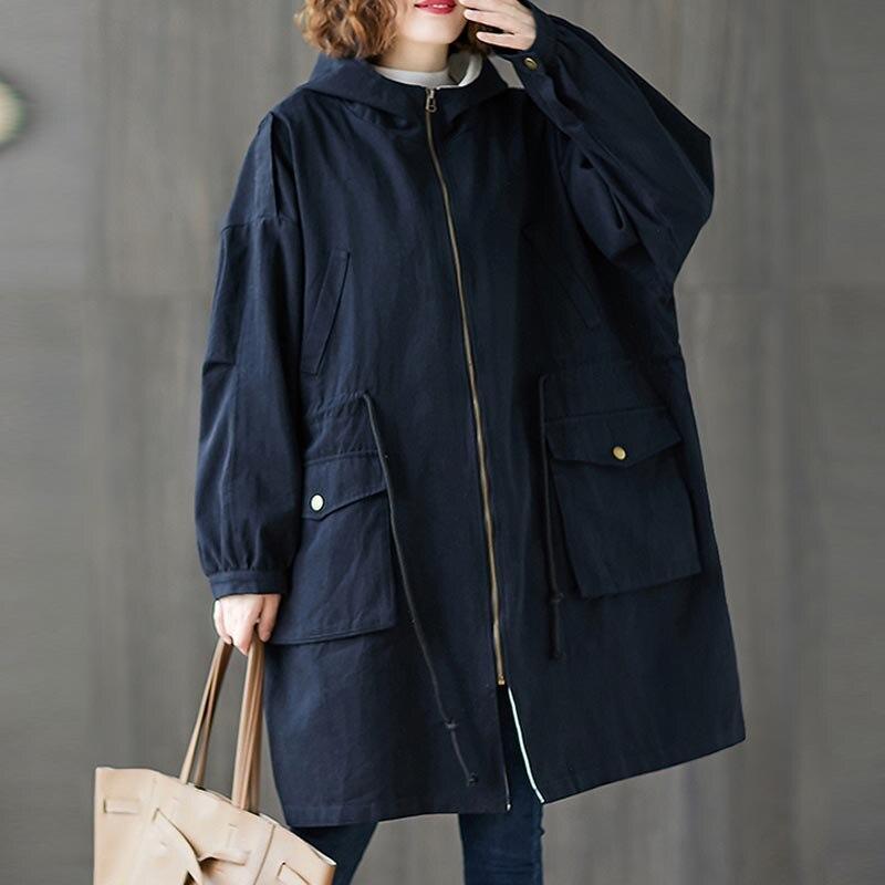 Plus Size 4XL 5XL 6XL 7XL Women Jackets Oversize Autumn Winter Thicken Cotton Hoody Outerwear Vintage Zipper Long Windbreaker
