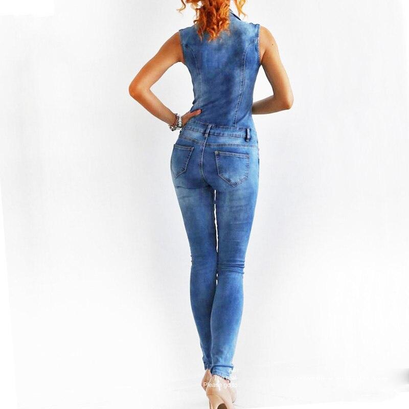GACVGA New Arrival Sleeveless Jumpsuit Jeans Sexy Bodysuit Women Denim Overalls Rompers Blue Ladies Pants Jeans 3