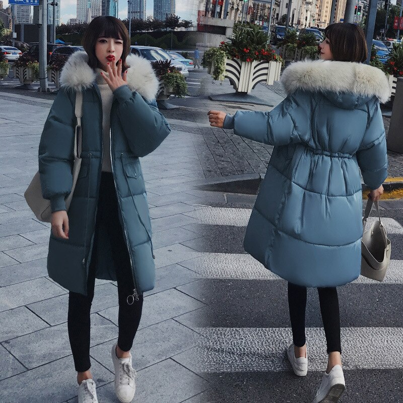 Women's Down Jacket Fur Hooded Thicken Zipper Long Down Coats Women Casual Solid Long Sleeve Warm Cotton Coats Female Jackets 1