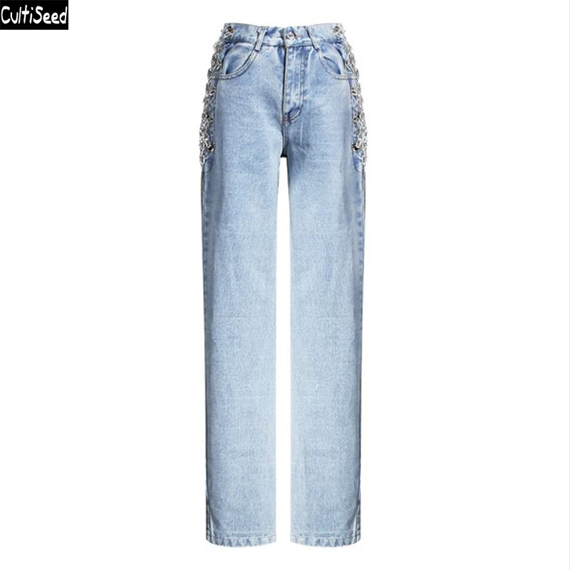 Women Denim Jeans Pant Trousers New Fashion Female High Waist Side Hollow Out Chain Straight Jeans Pant Ladies Vintage Jeans