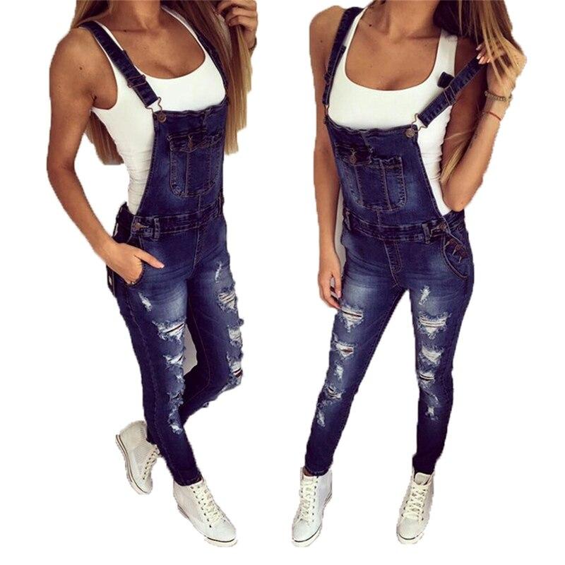 casual Denim Jumpsuit summer Ladies Long Pants rompers women jumpsuit Overalls ripped jeans Strappy Off Shoulder boyfriend jeans