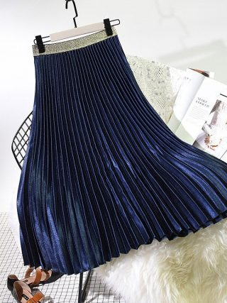 Qooth Winter Ladies Elegant Pleated Skirt Elastic Waist