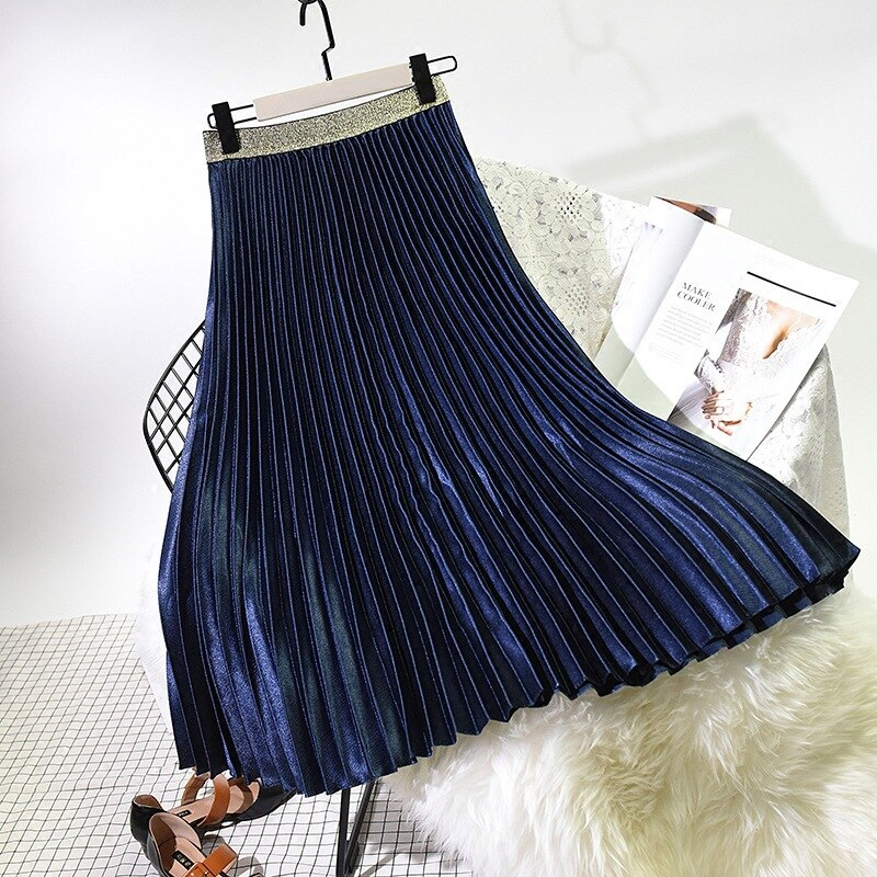 Qooth 2020 Winter Women Elegant Pleated Skirt Elastic Waist Women Long Skirt Female Autumn Ladies High Quality Midi Skirt Saia