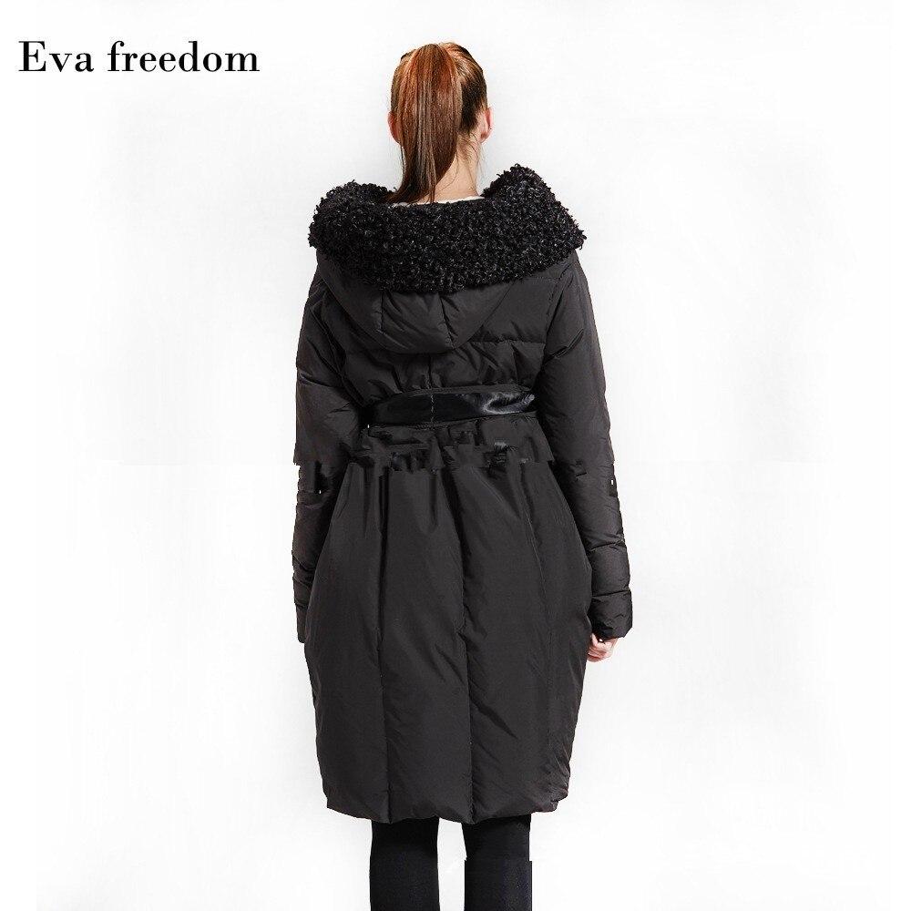 Eva Freedom Original Design down coat woman winter loose down coat Imitation beach wool cloak down jacket hooded women 3