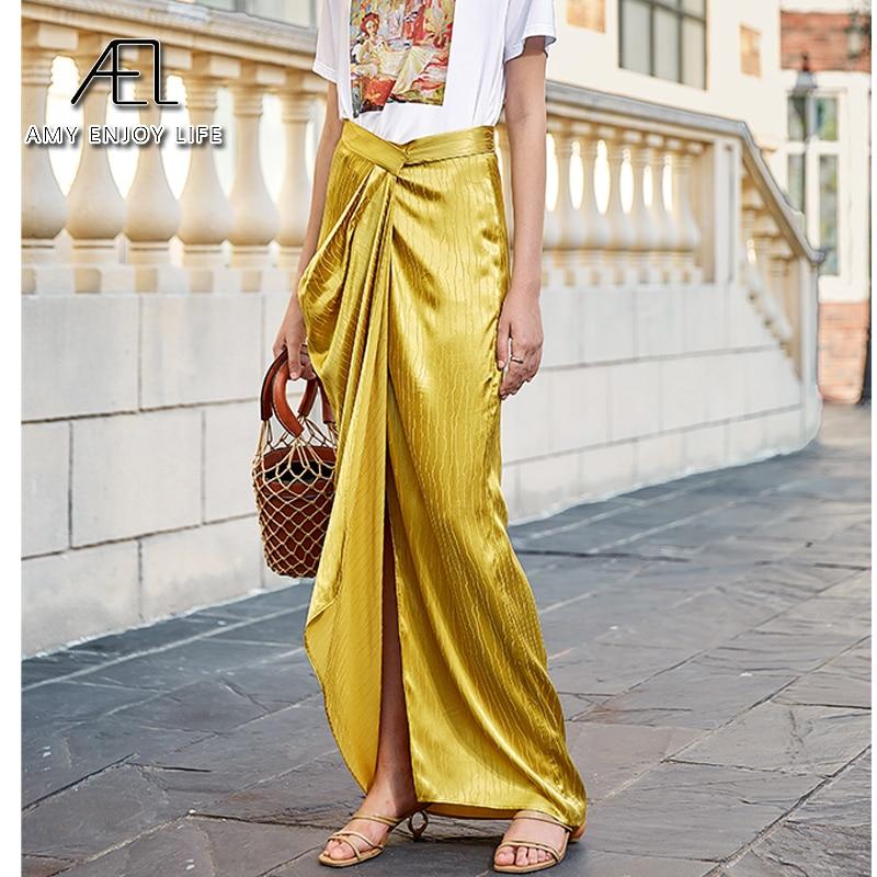 AEL Asymmetric High Split Skirt Woman Retro Long Satin Skirt Wrap Hip 2020 Summer Femme Midiskirt Elegant Slim High Waist 4