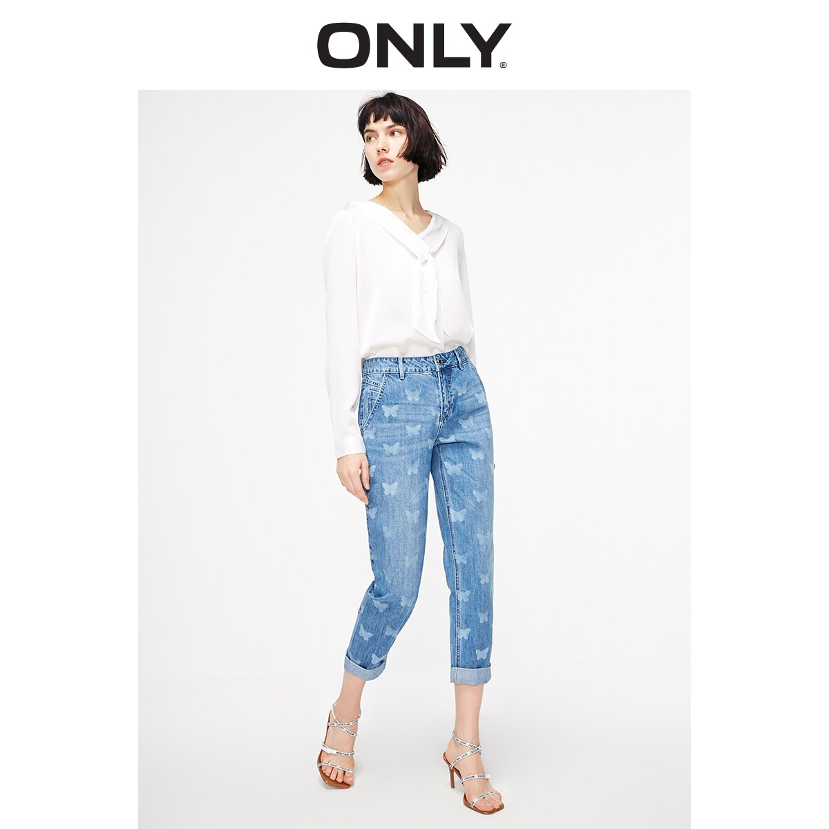 ONLY Women's Loose Straight Fit Low-rise Printed Crop Jeans   119149572 2