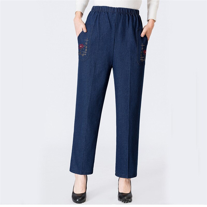 Mom Jeans Blue Loose High Waist Jeans 2019 New Spring Korean Embroidery Pockets Mid-aged Women Straight Jeans Chic Clothing JD47
