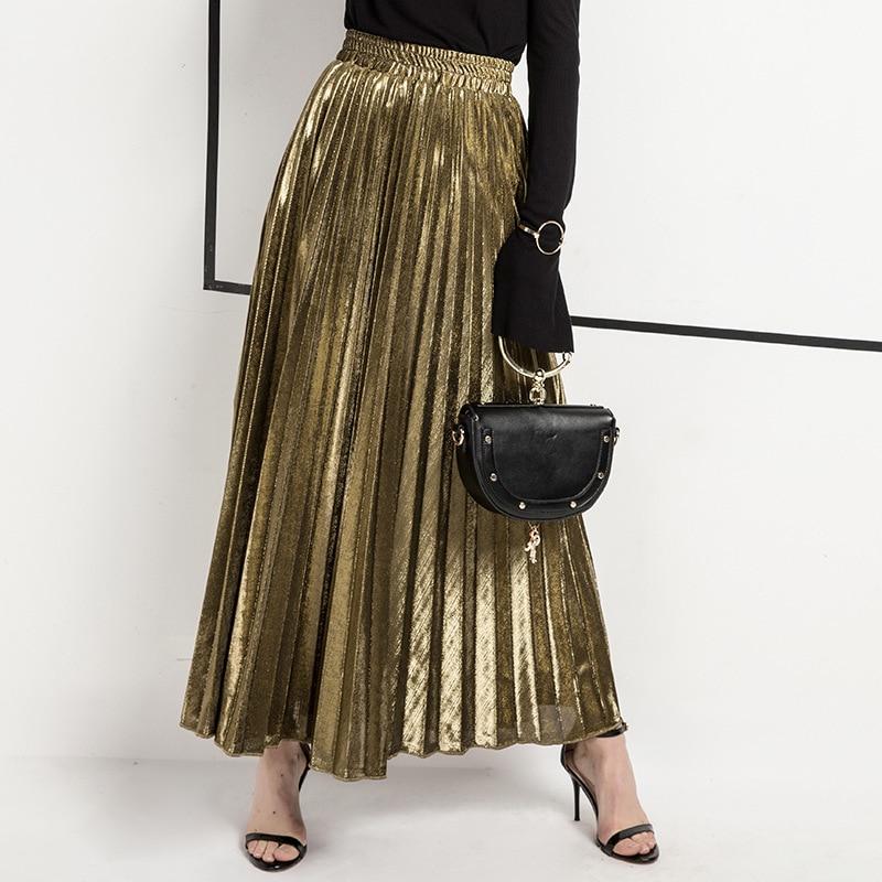 2020 Spring Women Long Skirts Fashion Brand A-Line Women Pleated Skirts High Waist Women Midi Skirt Faldas Mujer Saias 3