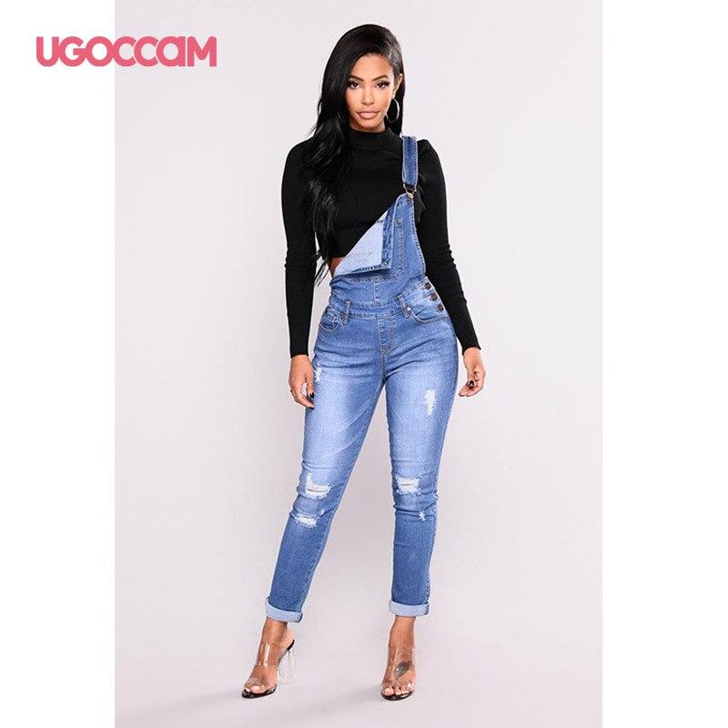 UGOCCAM Women Denim Overalls Jeans Bib Female Plus Size Slimming Denim Stretch Rompers Skinny Jeans Salopette vaqueros 3XL