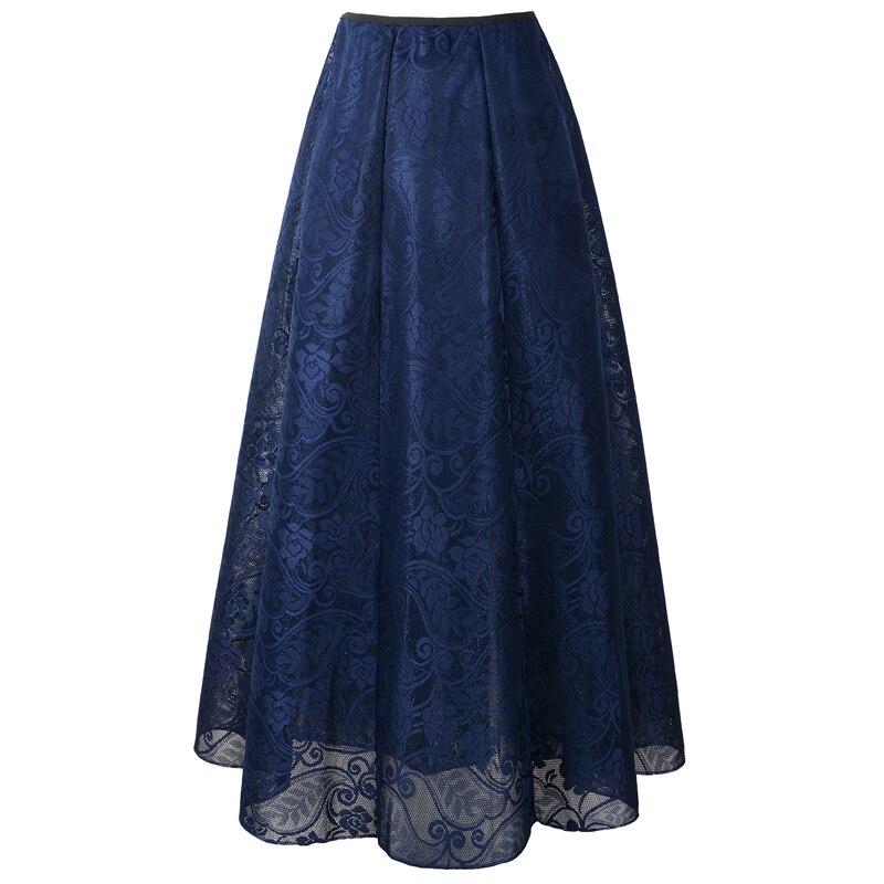 Neophil 2020 Vintage Ladies Floral Lace Mesh Women Long Skirts Muslim Maxi 100cm High Waist Pleated Print Boho Longa Saia MS1607 2
