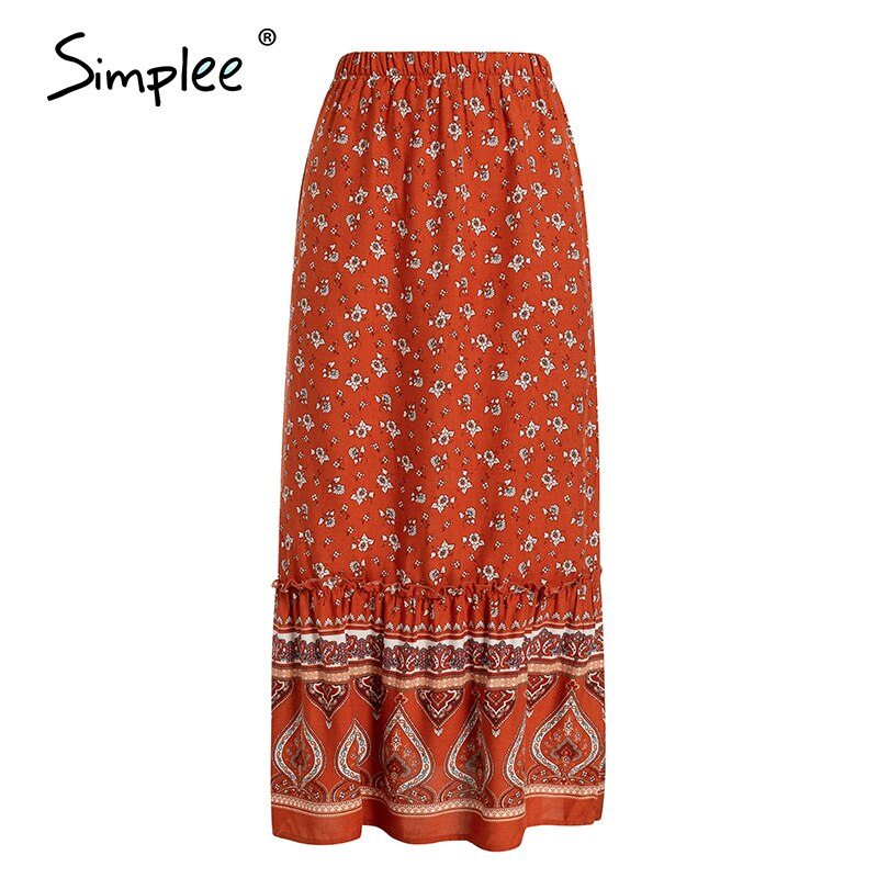 Simplee Bohemian floral print women long skirt Ruffled split A-line female skirts Spring summer holiday beach ladies skirts 2020 4