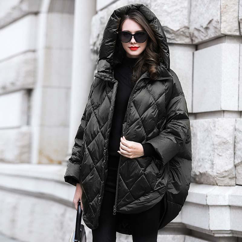 Solid Oversize Hooded Women down jacket 2019 Winter warm long down coat Green black loose fashion Overcoat Autumn YNZZU YO953 4