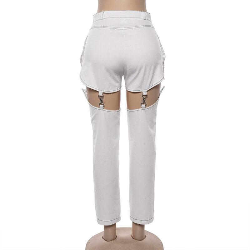 Punk Style Jeans Women Hip Hop Pocket White Hole Ripped Denim Pants Lady Autumn Straight Trousers Chain Detachable Pants Female 3