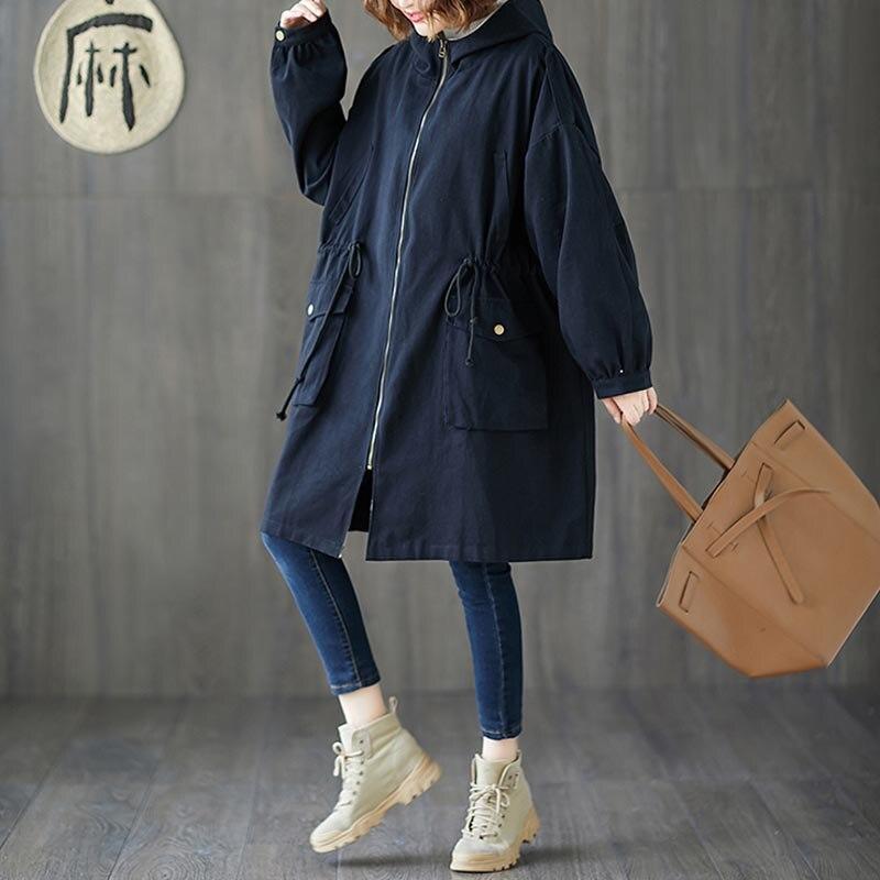 Plus Size 4XL 5XL 6XL 7XL Women Jackets Oversize Autumn Winter Thicken Cotton Hoody Outerwear Vintage Zipper Long Windbreaker 1
