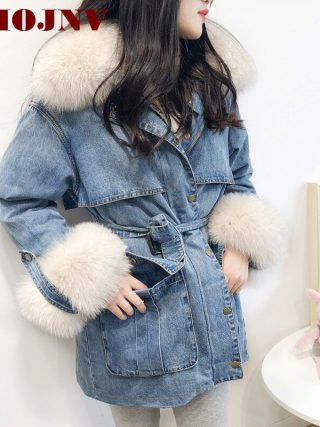 Winter Ladies Coat Denim Down Jacket Actual Pure Fox